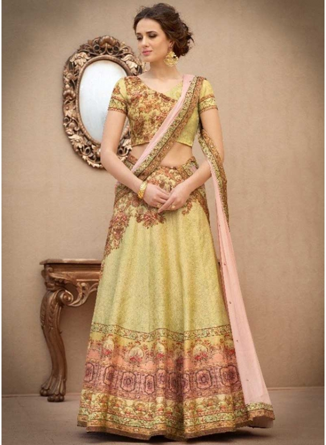 Pear N Peach Embroidery Work N Printed Banarasi Silk Designer Party Wear Lehenga Choli
