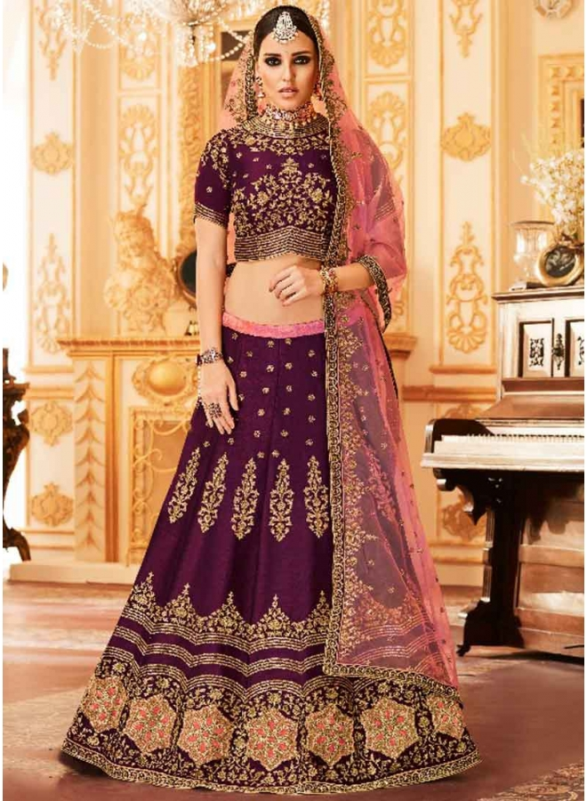 Dark Puprle Heavy Embroidery Hand Work Silk Net Designer Bridal Lehenga Choli