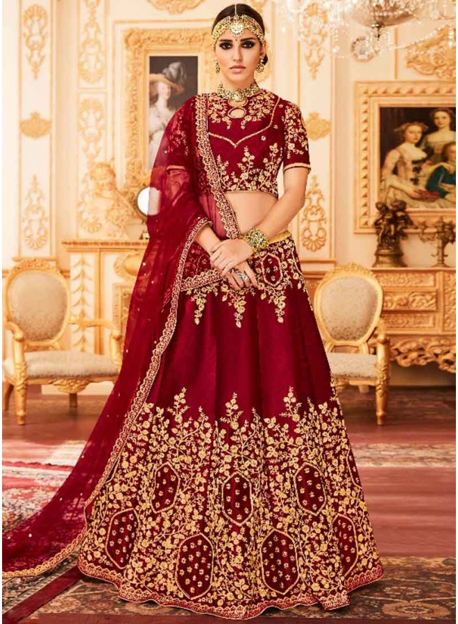 Maroon Heavy Embroidery Work Silk Net Designer Bridal Lehenga Choli