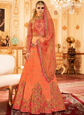 b01f5c0af8698b Orange Heavy Embroidery Hand Work Silk Net Designer Bridal Lehenga Choli