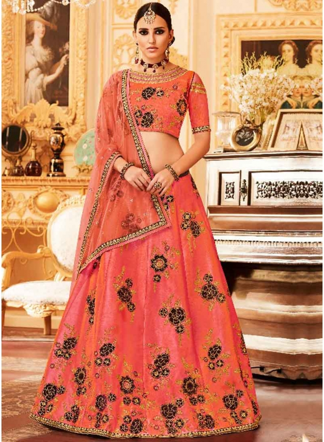 Peach Embroidery Work Net Fancy Fabric Designer Wedding Lehenga Choli