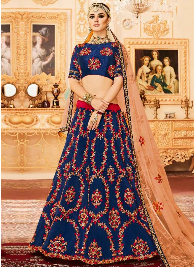 Royal Blue Embroidery Thread Work Net Silk Designer Wedding Lehenga Choli