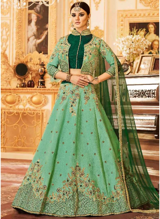 Sea Green Heavy Embroidery Hand Work Silk Net Designer Bridal Lehenga Choli