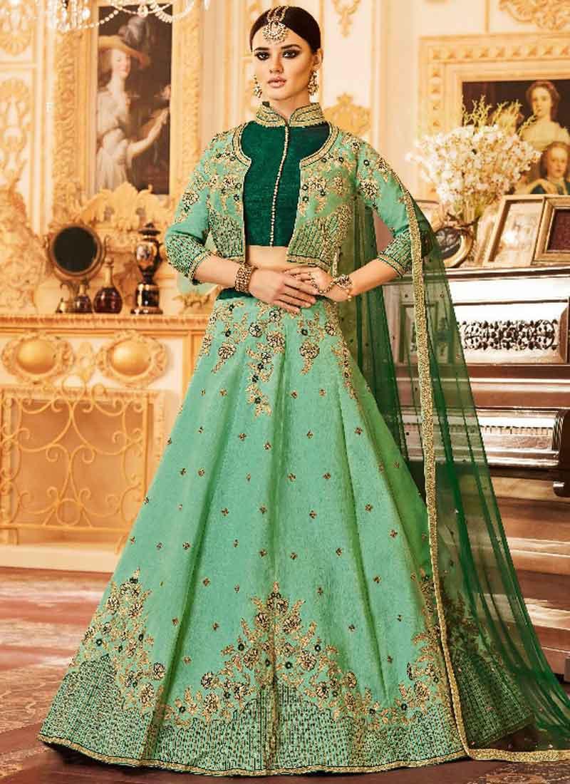 b8f5e6dcd5 Sea Green Heavy Embroidery Hand Work Silk Net Designer Bridal Lehenga Choli
