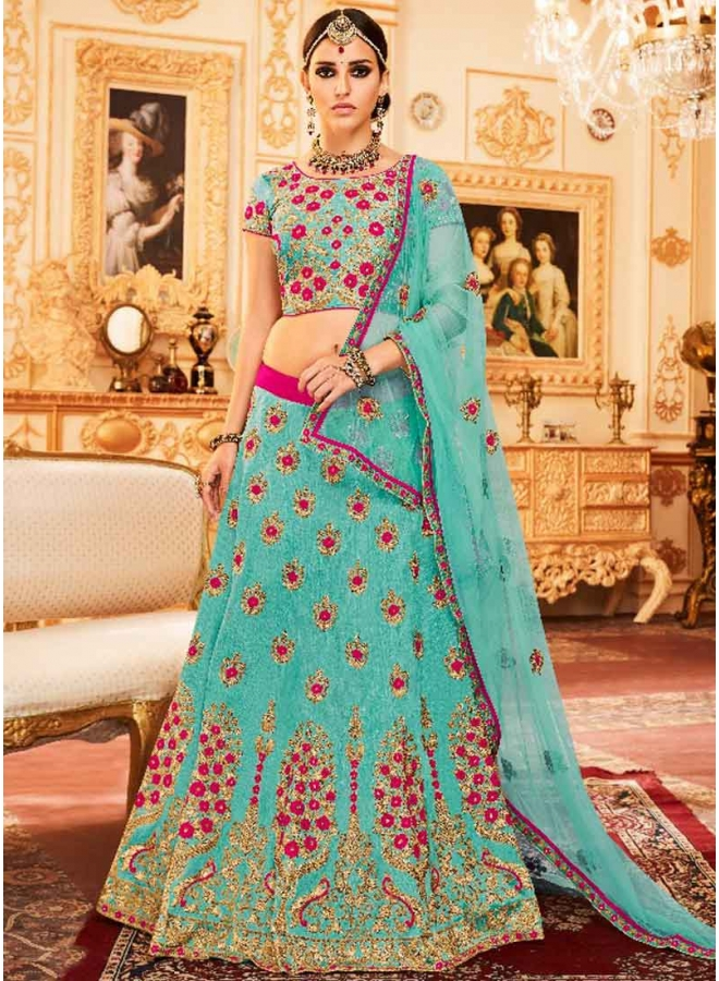 Turquoise Heavy Embroidery Hand Work Silk Net Designer Bridal Lehenga Choli