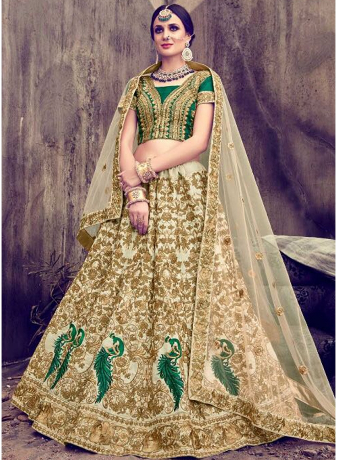 Beige Green Emroidery Work Fancy Fabric Net Wedding Wear Designer Lehenga Choli