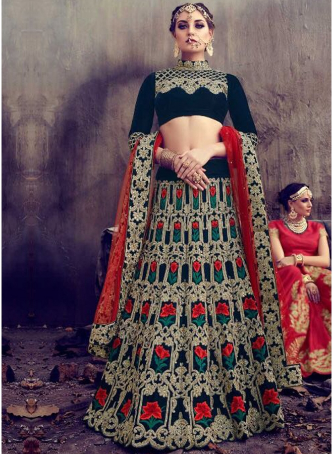Black Red Embroidery Thread Work Velvet And Net Designer Wedding Lehenga Choli