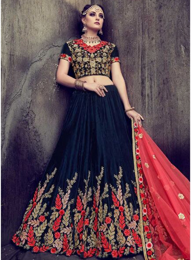 Navy Blue Heavy Embroidery Thread Work Velvet Wedding Wear Designer Lehenga Choli
