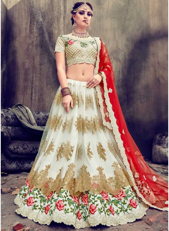 Off White Red Heavy Embroidery Work Net Wedding Party Wear Lehenga Choli