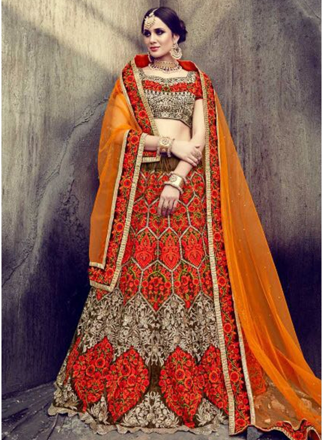 Orange Embroidery Thread Work Fancy Fabric Party Wear Wedding Lehenga Choli