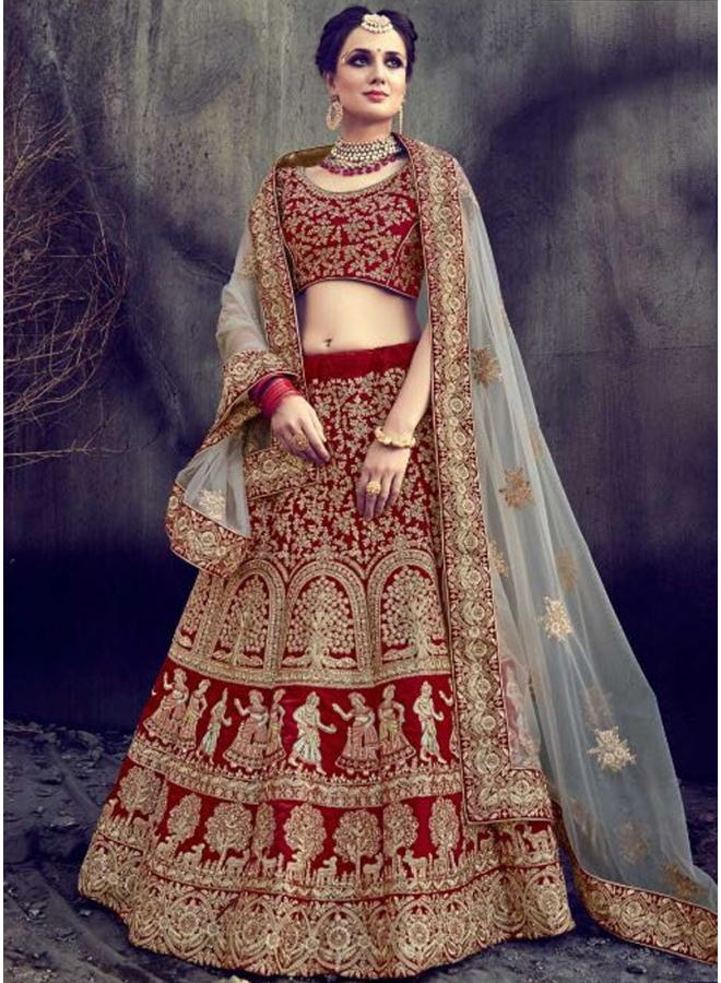 Red Beige Heavy Embroidery Zari Work Velvet Wedding Bridal Lehenga Saree