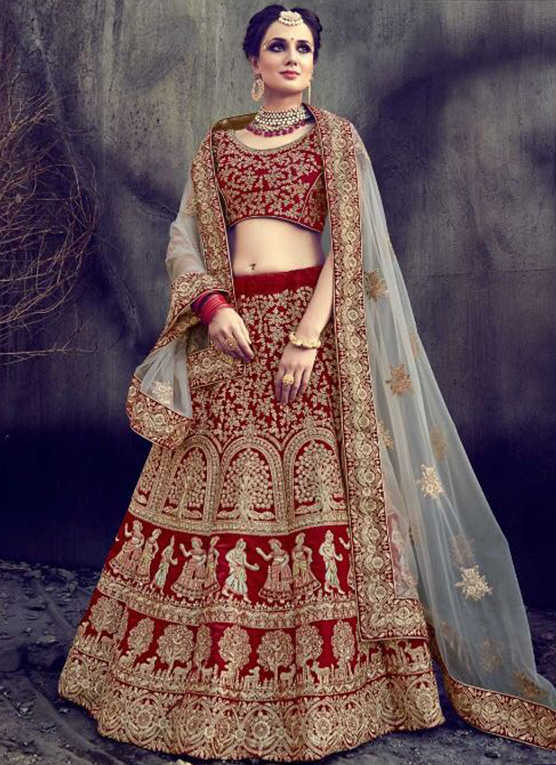 1d340f069a Red Beige Heavy Embroidery Zari Work Velvet Wedding Bridal Lehenga Saree