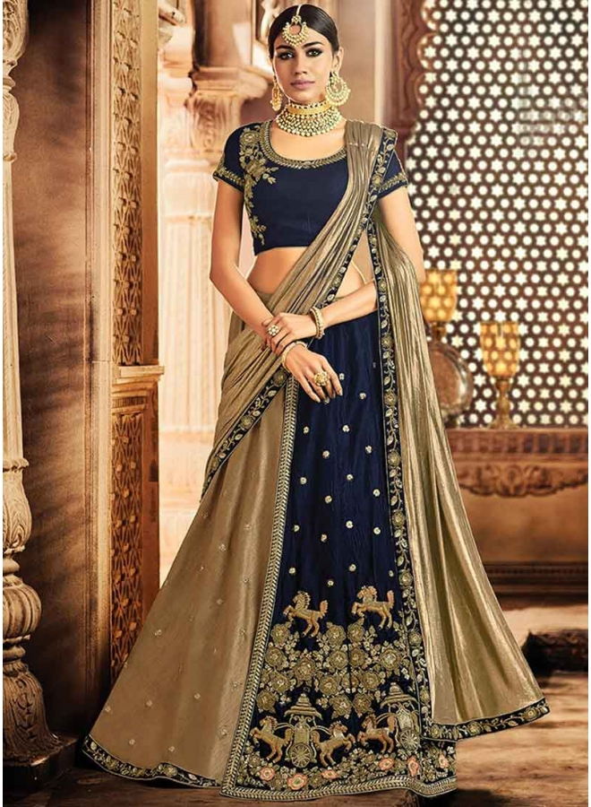 Brown Cord Embroidery Thread Work Velvet Designer Wedding Lehenga Choli