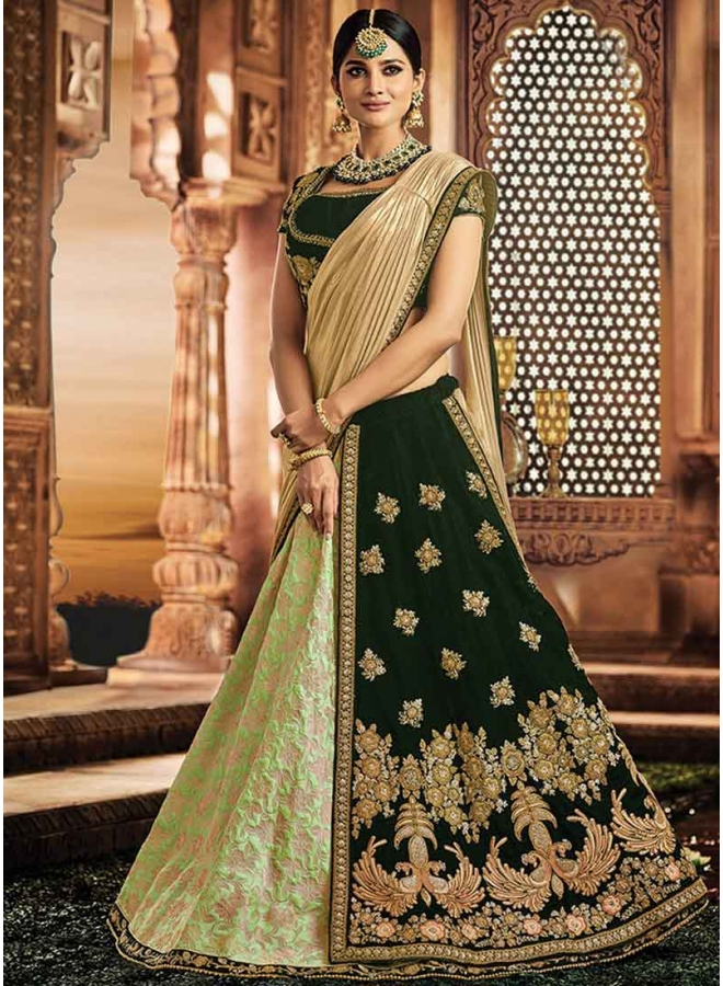 Dark Green Embroidery Work Jacquard Silk Wedding Party Wear Lehenga Choli