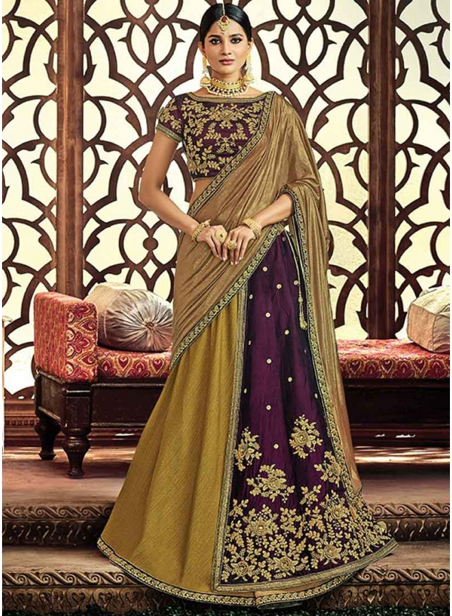 Olive Green Heavy Embroidery Cord Work Dupion Designer Party Wear Lehenga Choli