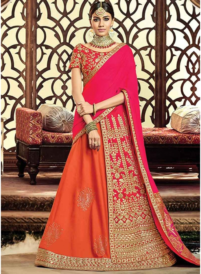 Orange Pink Heavy Embroidery Zari Work Raw Silk Designer Party Wear Lehenga Choli