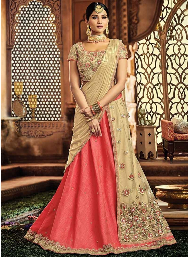 Peach Embroidery Thread Work Raw Silk Designer Wedding Lehenga Choli