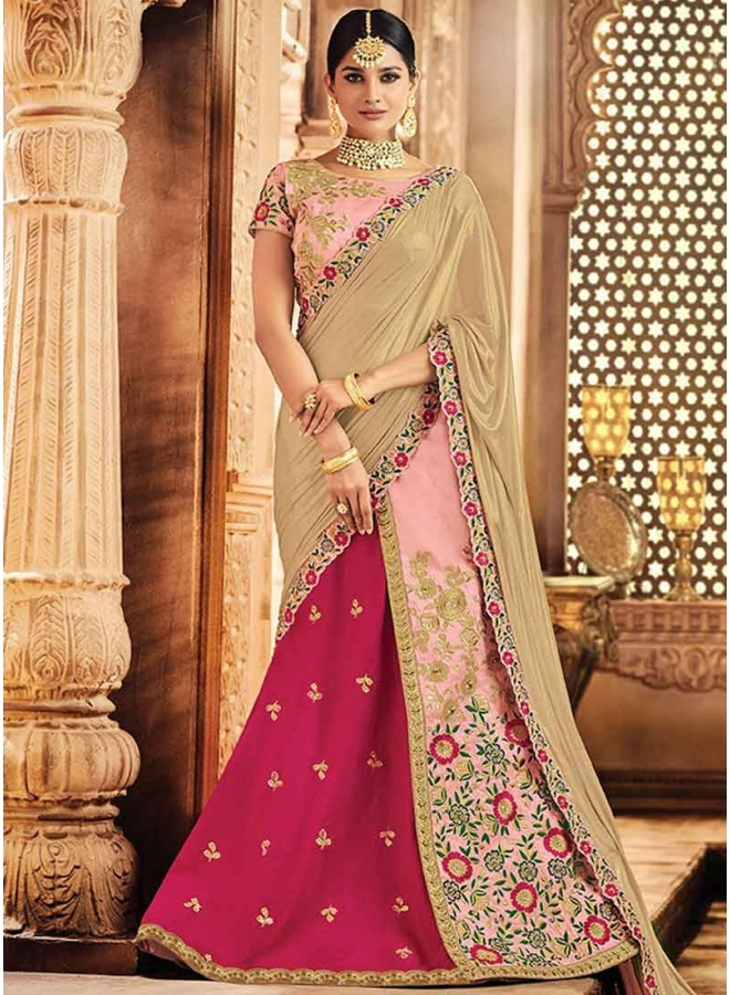 Pink Embroidery Thread Work Raw Silk Designer Wedding Lehenga Choli