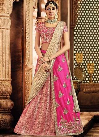 d007fb83a9 Pink Embroidery Work Jacquard Silk Wedding Party Wear Lehenga Choli