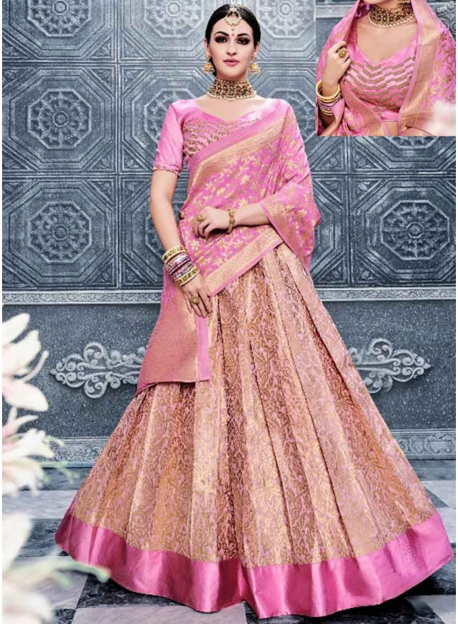 Kanika Kapoor Pink Embroidery Work Banarasi Silk Fancy  Lehenga Choli