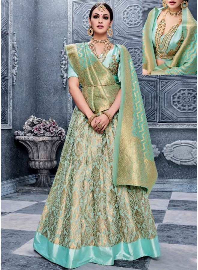 Kanika Kapoor Turquoise Embroidery Work Banarasi Silk Wedding Lehenga Choli