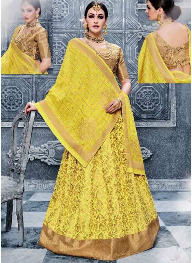 Kanika Kapoor Yellow Embroidery Work Banarasi Silk Fancy Wedding Lehenga Choli