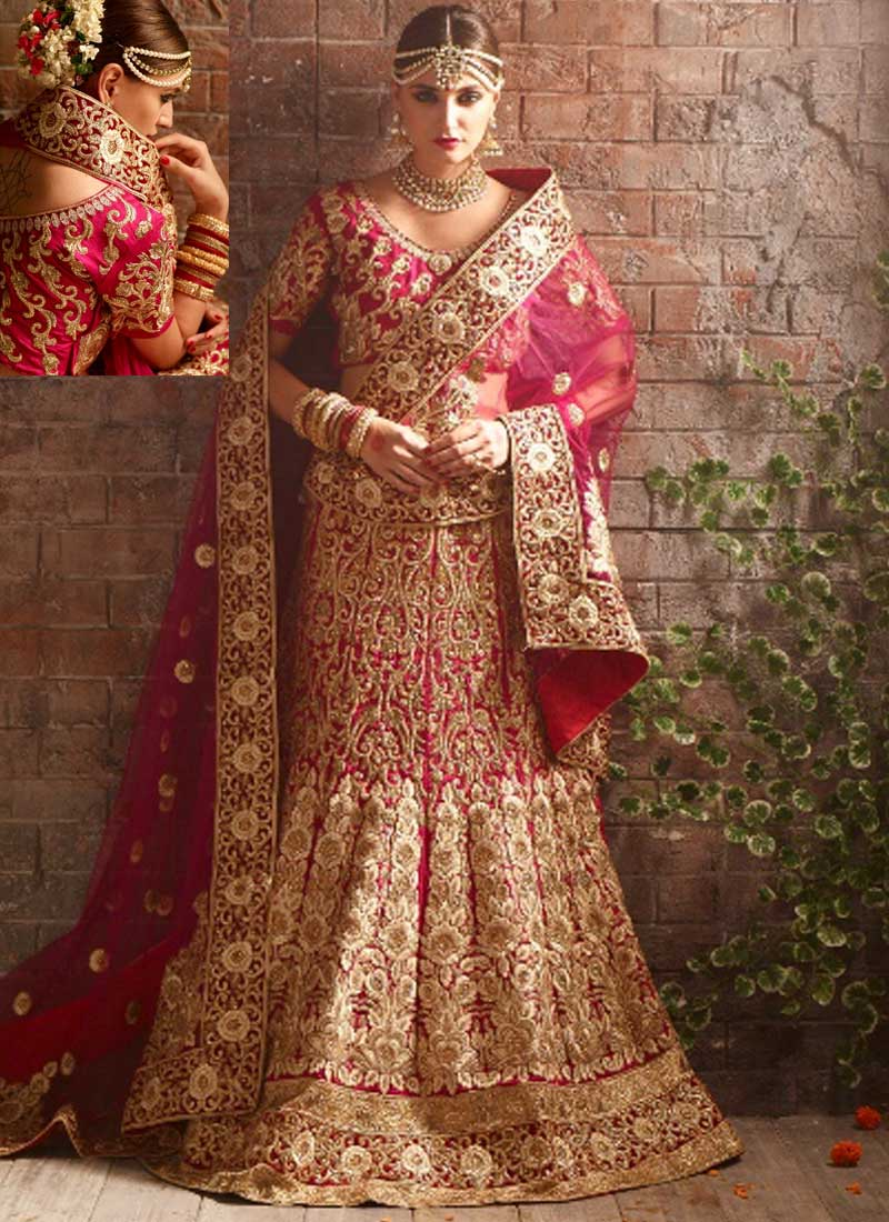 Pink silk heavy embroidery work and stone wedding