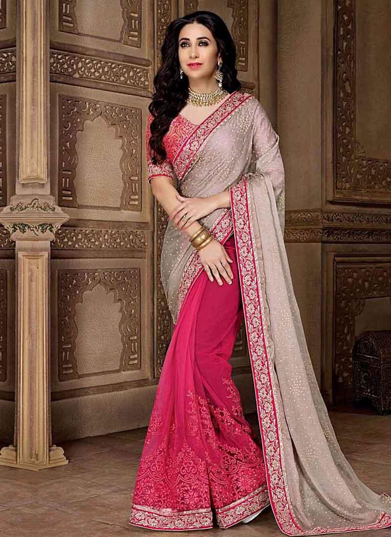 Grey pink embroidery work georgette designer wedding fancy