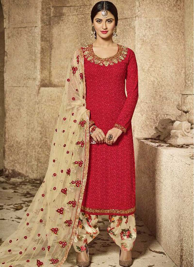 5ffd2842e5 Red Off White Embroidery Work Georgette Designer Party Wear Fancy Patiala  Suit