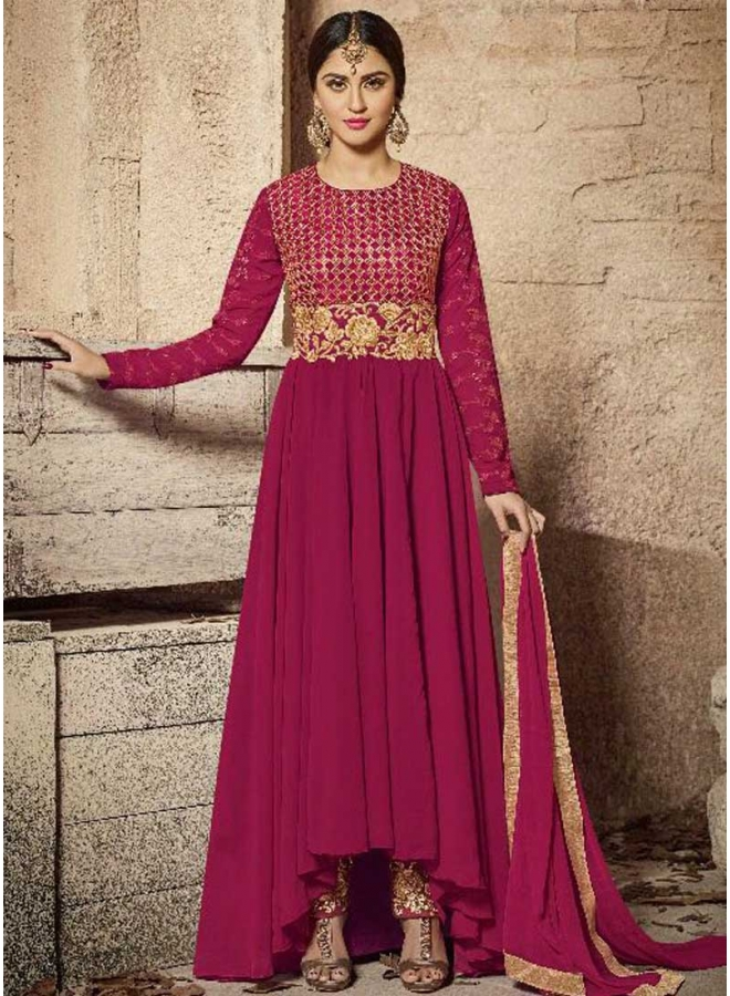 Rani Red Embroidery Work Fox Georgette Designer Long Anrakli Salwar Suit