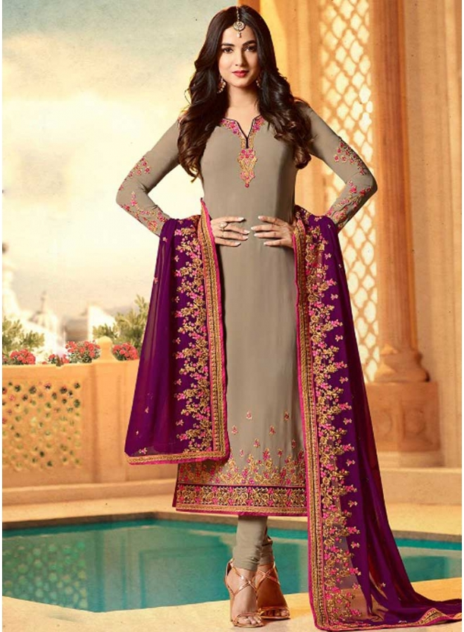Grey Colour Embroidery Work Georgette Fabric Designer Function Wear Salwar Kameez