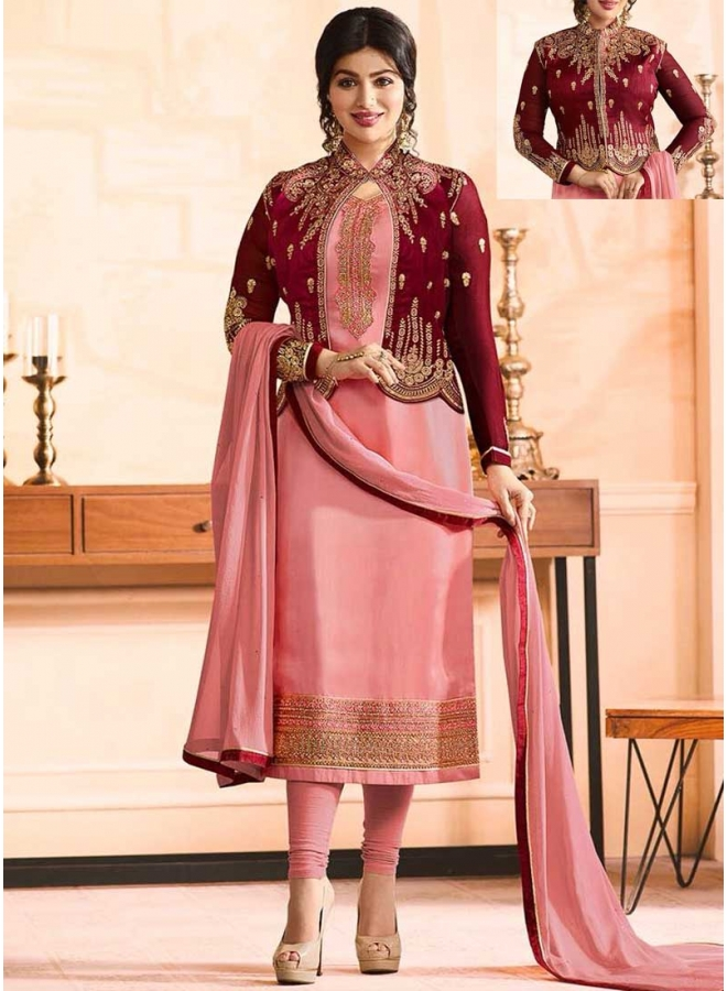 Ayesha Takia Pink N Red Embroidery Work Satin Fabric Designer Salawar Kameez