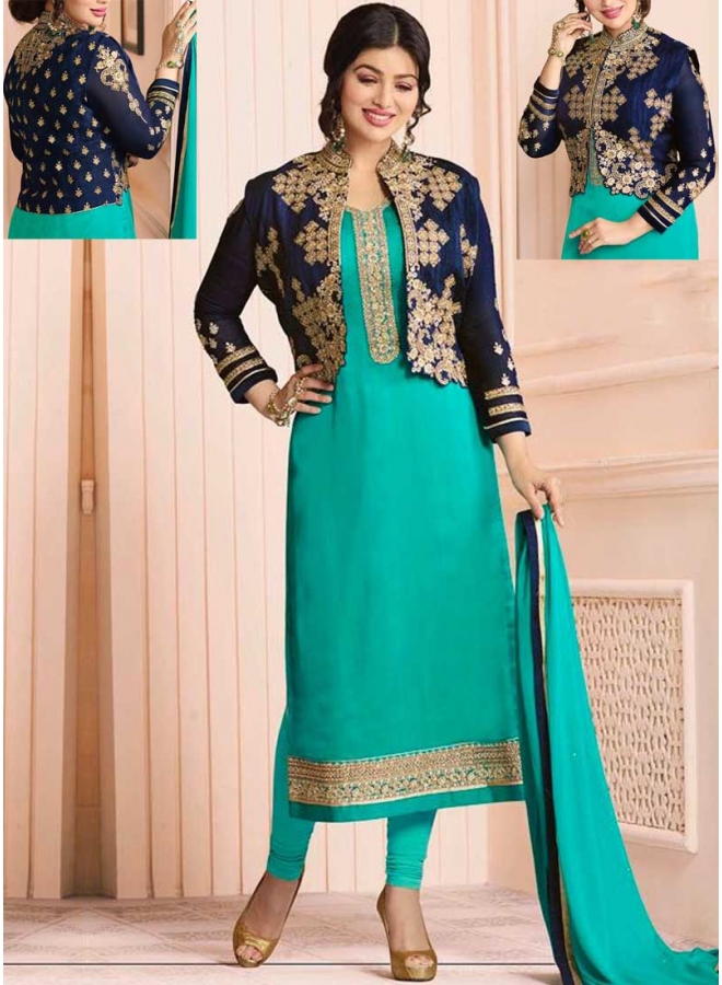 Ayesha Takia Turquoise N Navy Blue Embroidery Multi Work Georgette Party Wear Salwar Kameez