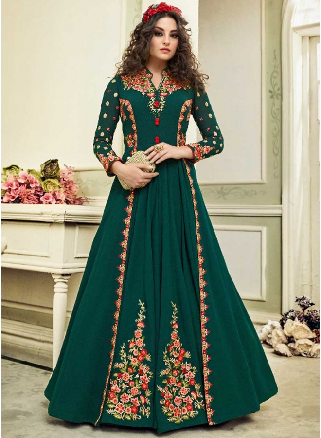 Dark Teal Embroidery Thread Work Dull Santon Fabric Function Wear Salwar Kameez