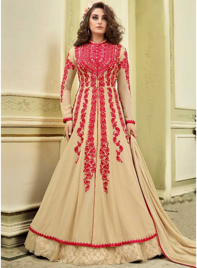 Peach Colour Embroidery Thread Work Dull Satin fabric Designer Full Long Salwar Kameez