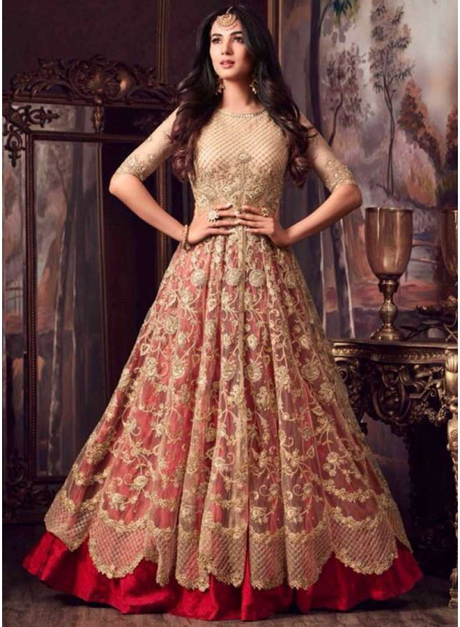 Red N Cream Embroidery Multi Work Net Fabric Lehenga Type Designer Salwar Kameez