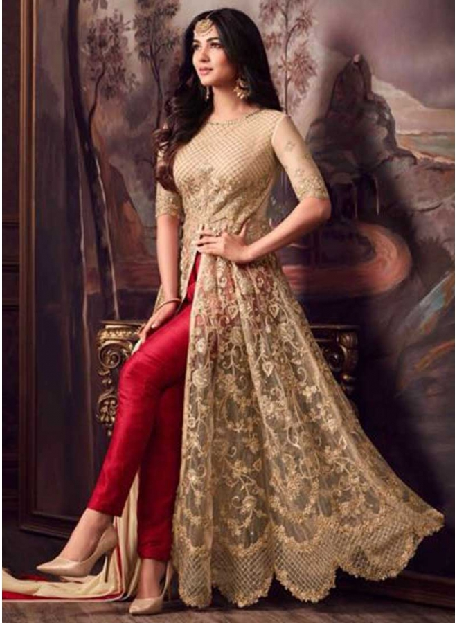 Cream Colour Embroidery Multi Work Net Fabric Pent Type Party Wear Salwar kameez