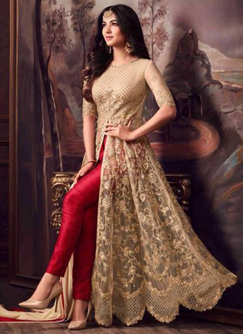 a628d082d7 Cream Colour Embroidery Multi Work Net Fabric Pent Type Party Wear Salwar  kameez