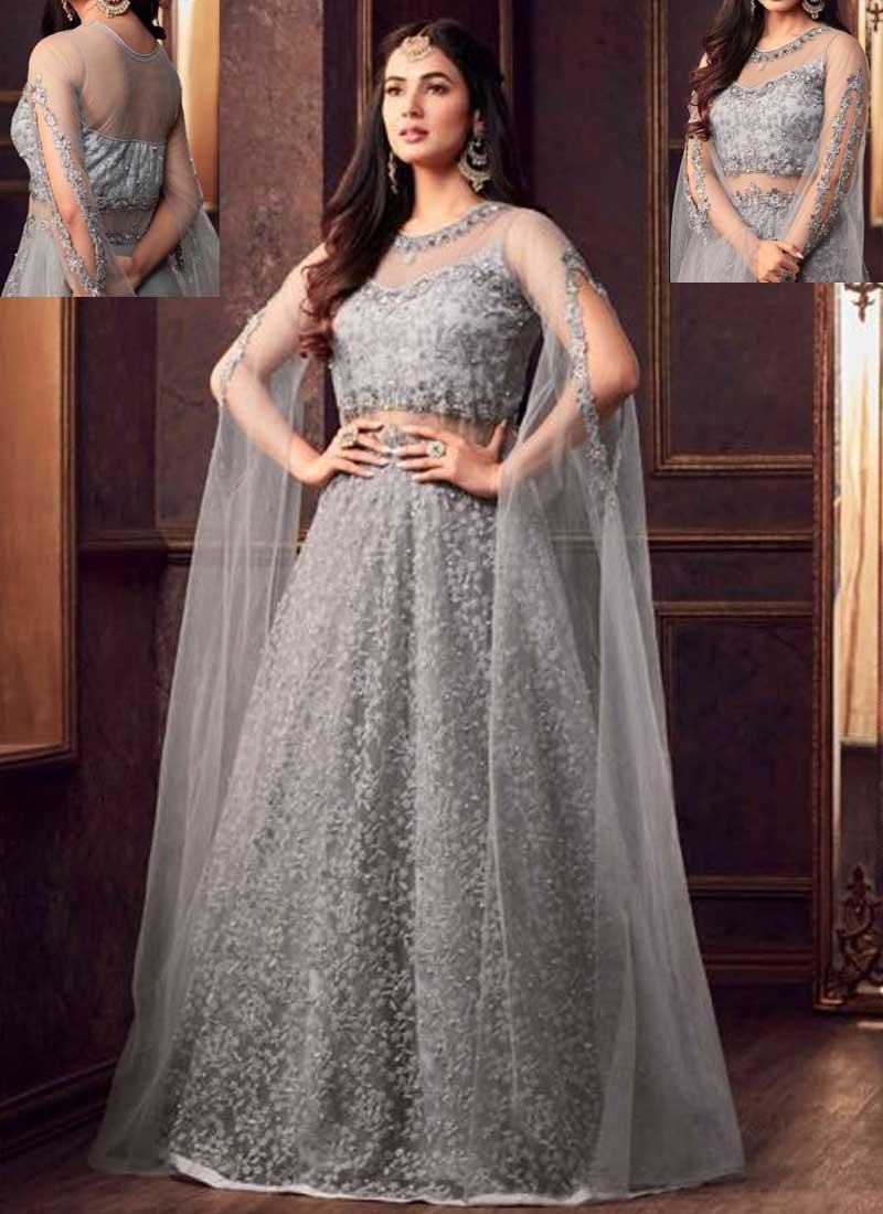 95fdd41b7f Light Grey Embroidery Multi Work Net Fabric Full Long Party Wear Salwar  kameez