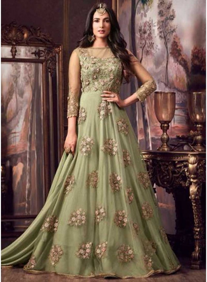 Light Green Colour Embroidery Work Net Fabric Full Long Designer Salwar Kameez
