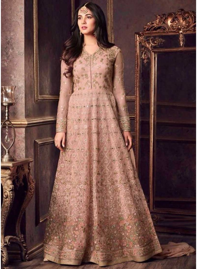 Dark Cream Embroidery Multi Work Net Fabric Anarkali Full Long Designer Salwar Kameez