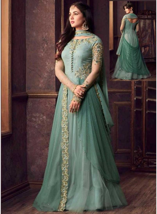 Baby Blue Colour Embroidery Multi Work Banarasi Silk Anarkali Long Designer Salwar Kameez