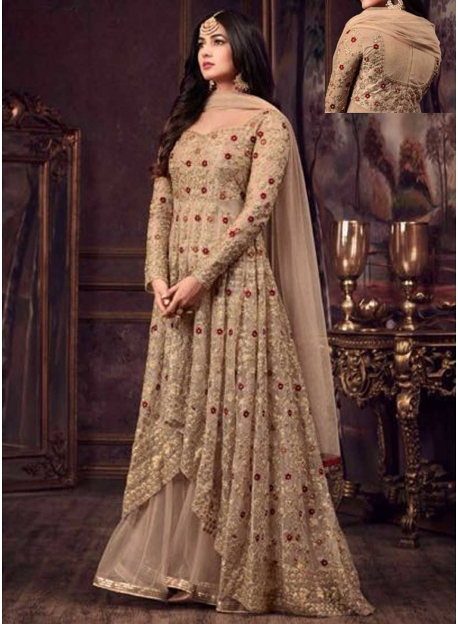 Dark Cream Embroidery Multi Work Net Fabric Anarkali Long Designer Salwar Kameez