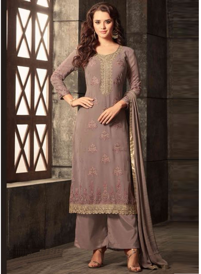 Dark Grey Embroidery Work Georgette Fabric Designer Party Wear Salwar Kameez