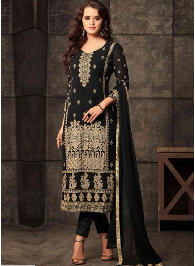 Black Embroidery Thread Work Georgette Fabric Designer Party Wear Salwar Kameez