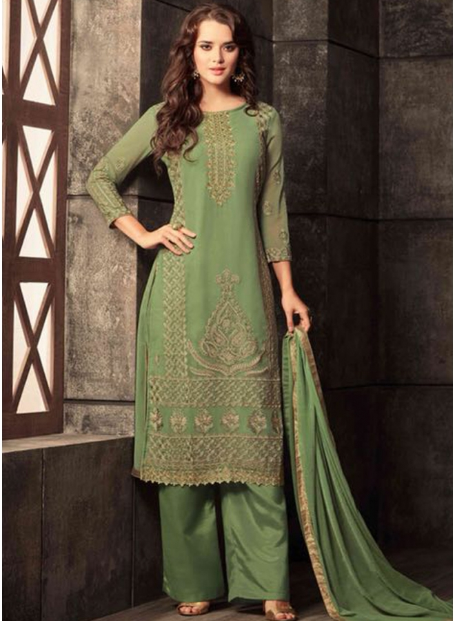 Parrot Green Colour Embroidery Work Georgette Fabric Designer Function Wear Salwar Kameez