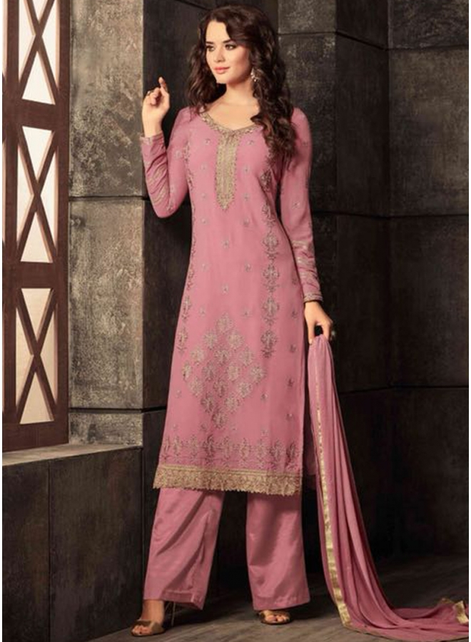 Pink Colour Embroidery Multi work Georgette Fabric Designer Party Wear Salwar Kameez