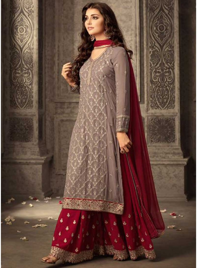 Grey N Dark Red Embroidery Work Georgette Fabric Patiala Party Wear Salwar Kameez