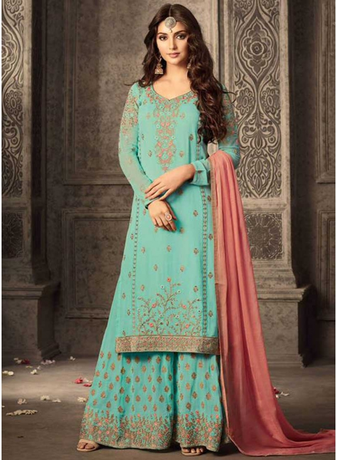 Turquoise N Pink Embroidery Work Georgette With Patiala Designer Salwar Kameez