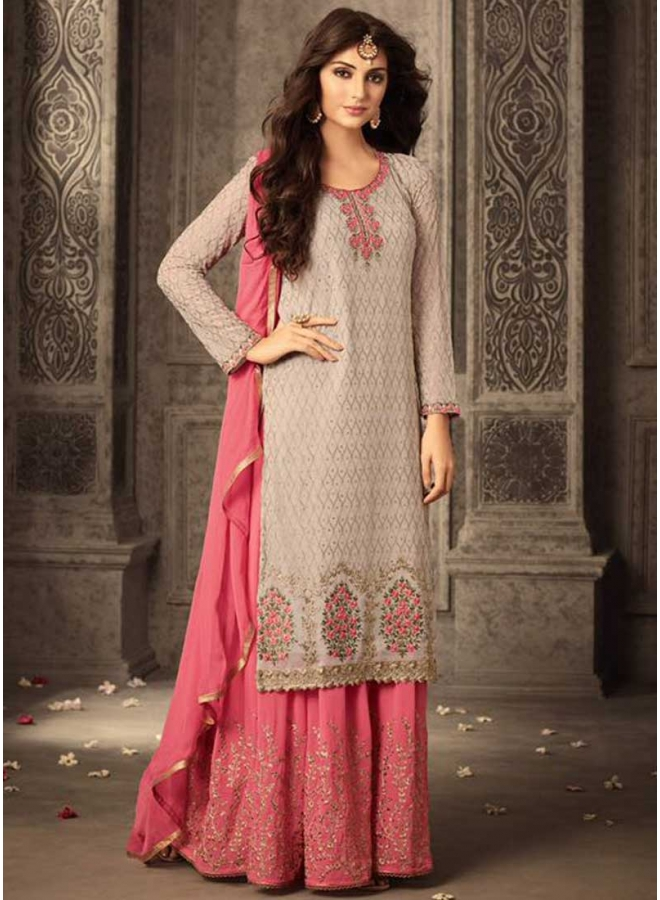 Cream N Pink Embroidery Work Georgette With Patiala Party Wear Salwar Kameez